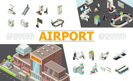 Isometric airport elements set with check-in desk escalator customs passport control departure board waiting hall baggage conveyor belt airplanes passengers workers vector illustration Illustration