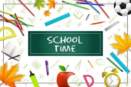 Concept coloré d'école réaliste avec des crayons stylos règles rapporteur d'érable mordu apple feuilles réveil marqueurs ballon de football en illustration vectorielle de cadre Vecteurs