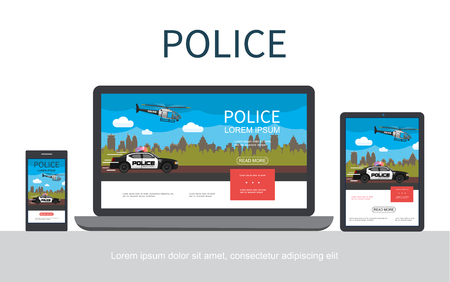 Flat police colorful concept with cityscape flying helicopter moving car adaptive for mobile tablet and laptop screens isolated vector illustration Banque d'images - 111755163