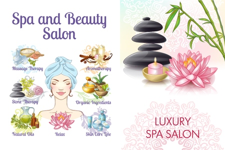 Cartoon spa salon colorful concept with woman stones natural and massage oils lotus flower creams aroma candles towels vector illustration