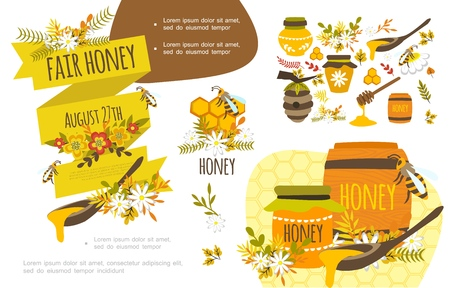 Flat organic honey colorful concept with bees beautiful flowers honeycomb clipper stick beehive barrels and jars of sweet product vector illustration