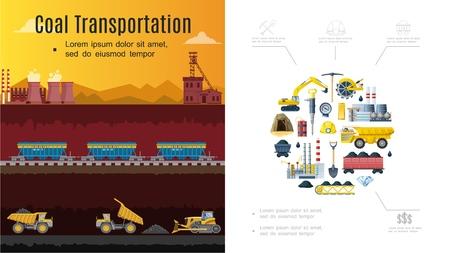 Composición de la industria minera plana con concepto de transporte de carbón, vagones de excavadora, pala de fábrica, pico, dinamita mineral, casco, camión volquete, rueda de cubo, ilustración vectorial Ilustración de vector