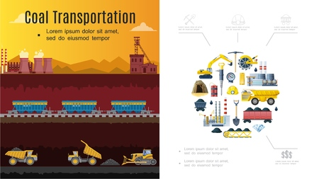 Platte mijnbouw industrie samenstelling met kolen transport concept graafmachine wagons fabriek schop houweel mineraal dynamiet helm dump truck emmer wiel vectorillustratie Vector Illustratie
