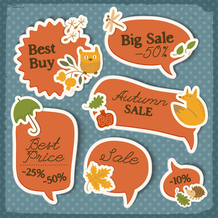 Seasonal sale red stickers set with traditional autumn symbols and elements on dotted background isolated vector illustration Illustration