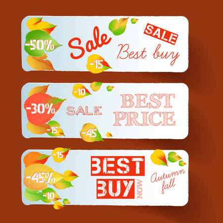 Seasonal floral sale horizontal banners with inscriptions and autumn colorful falling leaves on red background vector illustration 일러스트