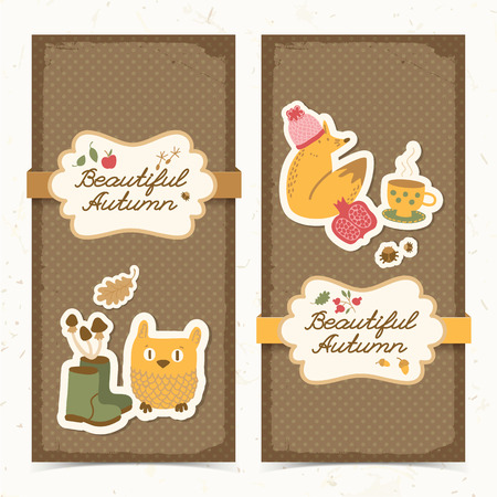 Two isolated vertical autumn banners set in doodle style with funny owl and fox characters high boots and leaves vector illustration