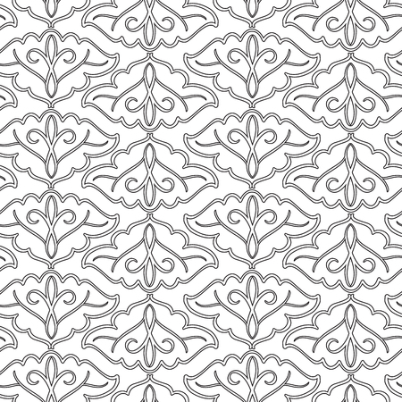 Abstract seamless pattern with repeating textured elegant ornate objects in monochrome style vector illustration Illustration