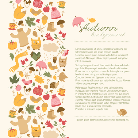 Autumn background with doodle style vertical composition of isolated fall cartoon images and place for editable text vector illustration Illustration