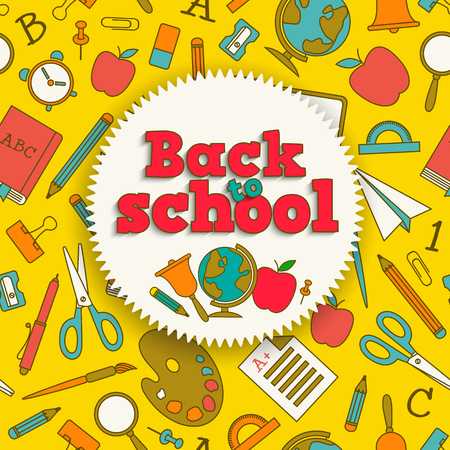 Education colorful background with back to school sticker and supplies seamless pattern vector illustration Standard-Bild - 111716081