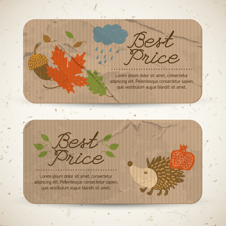 Vintage seasonal sale horizontal banners with text and autumn traditional elements and symbols vector illustration