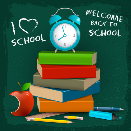 Headline written in chalk i love school with books alarm clock and apple vector illustration