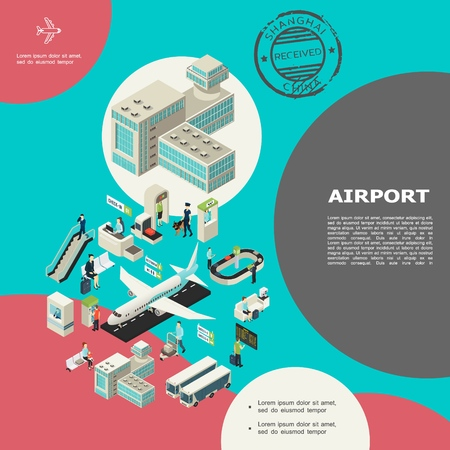 Isometric airport elements concept with building escalator passengers baggage conveyor belt buses airplanes check-in desk customs control waiting hall visa stamp vector illustration Illustration