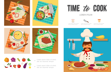 Flat healthy food cooking infographic template with chef vegetables meat cheese on cutting board knives vector illustration Illustration