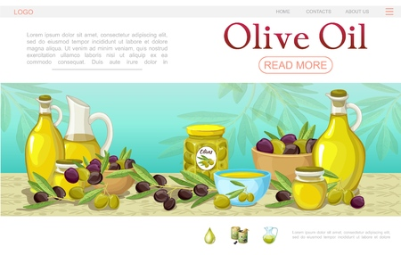 Cartoon olive oil web page template with pots bowls black and green olive branches bottles and jar of organic oil vector illustration