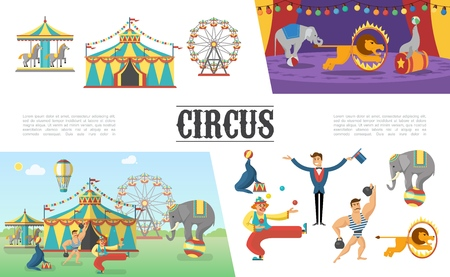 Flat carnival circus elements set with tent carousels strongman clown juggling balls illusionist elephant lion seal performing different tricks vector illustration Illustration