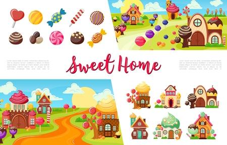 Collection colorée de bonbons plats avec des bonbons et des sucettes de différentes formes illustration vectorielle de bonbons drôles Vecteurs