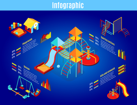 Isometric kids playground infographic template with carousels swings slides sandbox sport sections diagrams graphs isolated vector illustration