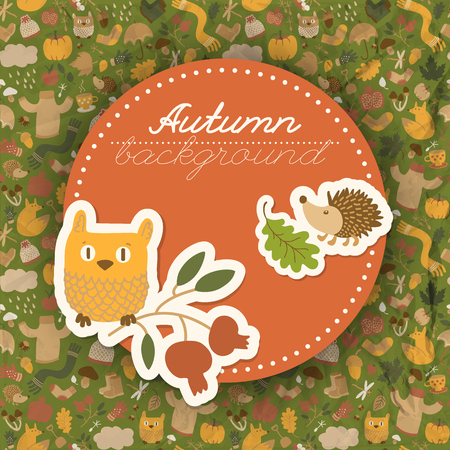 Doodle style fall composition with decorative text on round sticker with cartoon autumn elements on seamless pattern background vector illustration