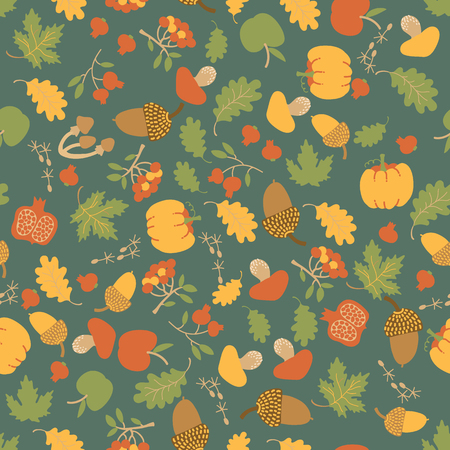 Seasonal autumn floral seamless pattern with maple oak leaves pumpkins apples berries mushrooms and acorns vector illustration