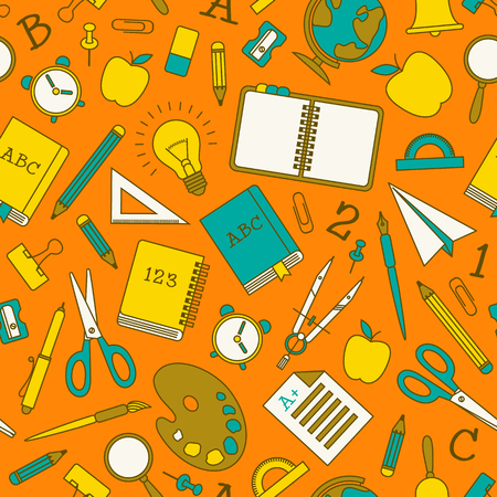 Colorful school supplies seamless pattern in doodle style on light orange background vector illustration Standard-Bild - 111636369