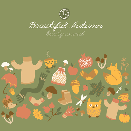 Autumn doodle style background with horizontal composition of isolated cartoon images of food wear animals and foliage vector illustration