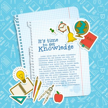 Il modello della scuola di istruzione con i fogli di carta del testo fornisce sull'illustrazione senza cuciture di vettore del modello delle icone della linea blu