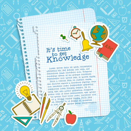 Education school template with text paper sheets supplies on blue line icons seamless pattern vector illustration