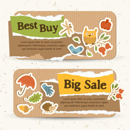 Seasonal sale horizontal banners with text torn paper colorful autumn traditional elements and icons vector illustration