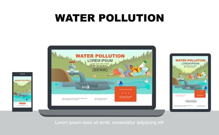 Flat water pollution adaptive design concept with industrial waste in pond and garbage on coast on laptop mobile tablet screens isolated vector illustration Illustration