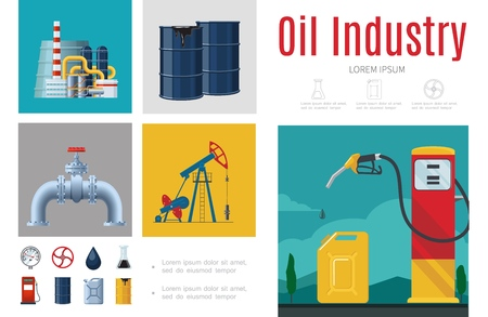 Flat oil industry infographic template with refinery plant drilling rig gas pipeline station fuel pump canister barrels vector illustration