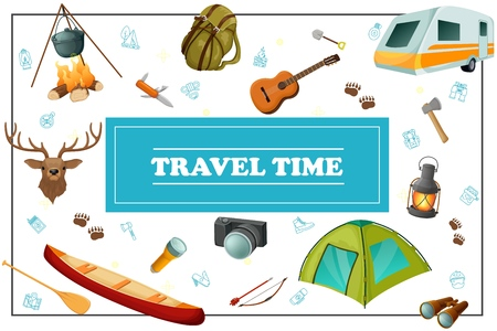 Cartoon summer travel concept with camper trailer backpack deer head knife canoe tent camera flashlight bow arrow guitar axe lantern in frame vector illustration