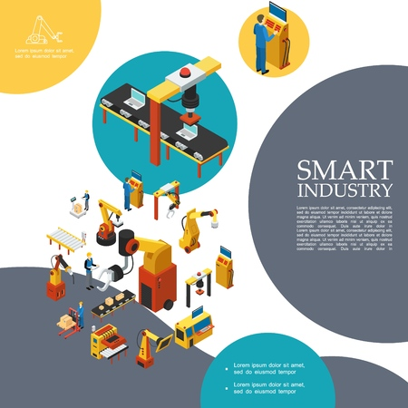 Isometric smart industry colorful template with automated conveyor belts production lines robotic mechanical arms operators vector illustration Stok Fotoğraf - 111553451