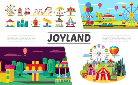 Flat amusement park elements set with ferris wheel children electric cars rollercoaster hot air balloons ticket booth  castle different attractions and carousels vector illustration