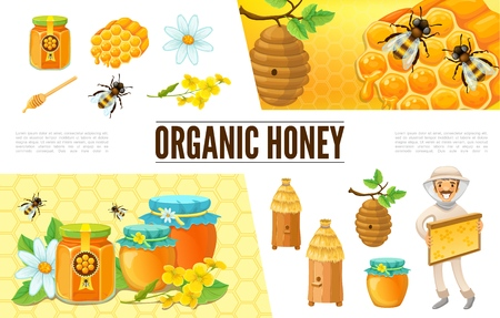 Cartoon beekeeping composition with beekeeper hive bees camomile flower honeycombs stick jars and banks of honey vector illustration