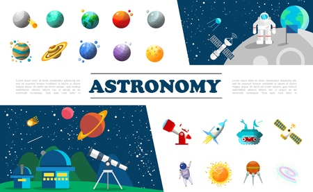 Flat universe elements colorful set with different planets astronaut in outer space satellite planetary telescope spaceship moon rover sun constellation vector illustration Illustration