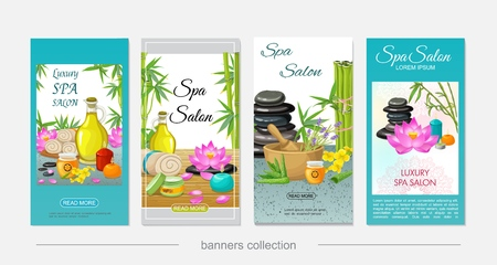Flat spa salon vertical banners with natural oil towels honey aroma candles lotus flowers herbs stones mortar bamboo aloe vera vector illustration Иллюстрация