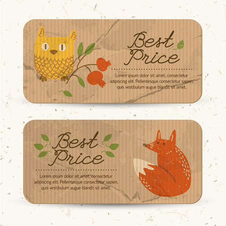 Brown paper autumn sale horizontal banners with text leaves owl fox and cowberry branch vector illustration
