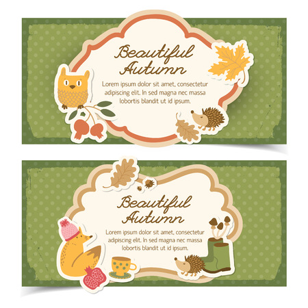 Autumn banners set in doodle style with outlined figures of different shape with editable handwritten title and text field vector illustration Illustration