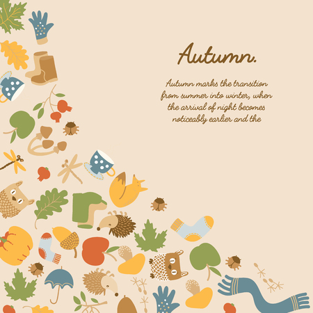 Abstract autumn colorful decorative template with text and seasonal icons on light background vector illustration Çizim