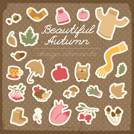 Doodle style fall background with isolated design elements stickers cartoon images of autumn things vector illustration