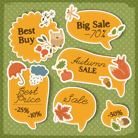 Autumn sale orange stickers set with traditional paper signs and elements on green dotted isolated background vector illustration