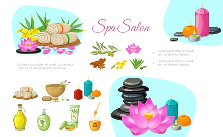 Flat spa salon concept with stones aroma candles towels olive branch natural oil cream lotus flower bamboo cinnamon sticks aloe vera vector illustration