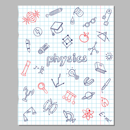 Physics sketch icons set of scientific elements and equipment on paper sheet isolated vector illustration Standard-Bild - 110431431