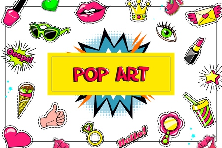 Pop art fashion stickers concept with eyeglasses lipstick ice cream thumb up symbol cocktail speech bubble ring winged letter heart vector illustration