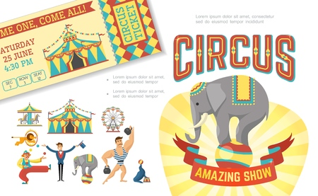 Flat circus show concept with trained animals performing tricks strongman tent juggling clown magician carousel ticket vector illustration Illustration