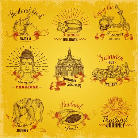 Isolated hand drawn style thailand labels set with thai traditional symbols decorative captions on golden background vector illustration