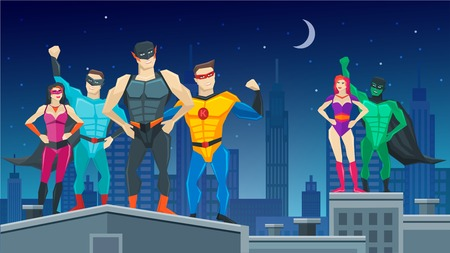 Superheroes team composition with people in confident poses on city roofs at starry night vector illustration Stock Illustratie