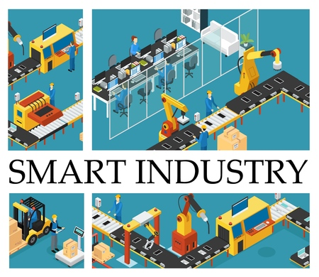 Isometric automated factory composition with industrial assembly line robotic arms engineers operators control working process vector illustration