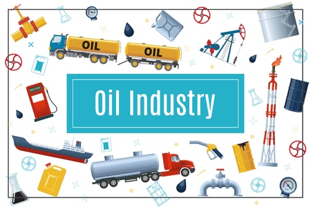 Flaches Ölindustriekonzept mit Tankwagen Tankstelle Pipeline Bohrinsel Derrick Kraftstoffpumpe Tankfass Kanister in rechteckiger Rahmenvektorillustration