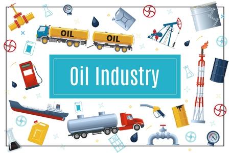 Flat oil industry concept with tank trucks gas station pipeline drilling rig derrick fuel pump tanker barrels canister in rectangular frame vector illustration Ilustração